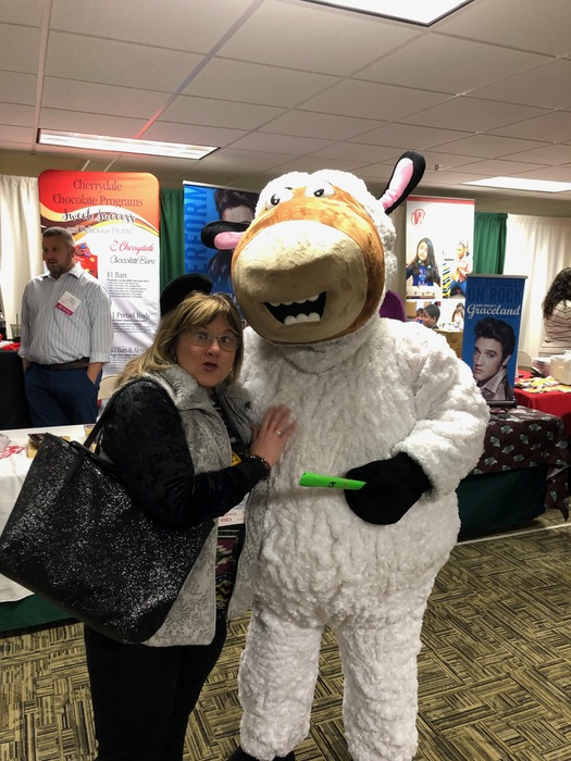 Mrs. Hardy and Perry the Sheep from Quaver music program